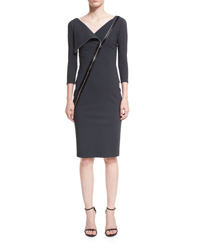 Dianthe 3/4-Sleeve Asymmetric Zip-Neck Cocktail Sheath Dress