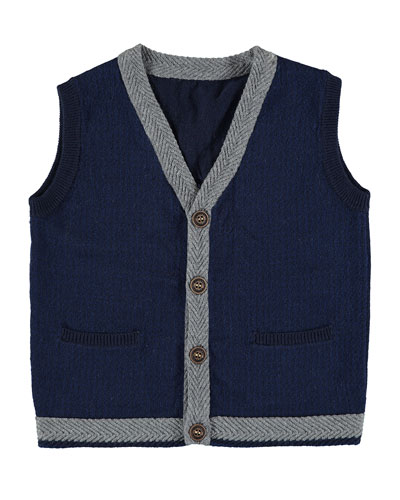 Knit Vest w/ Contrast Trim, Size 3-7