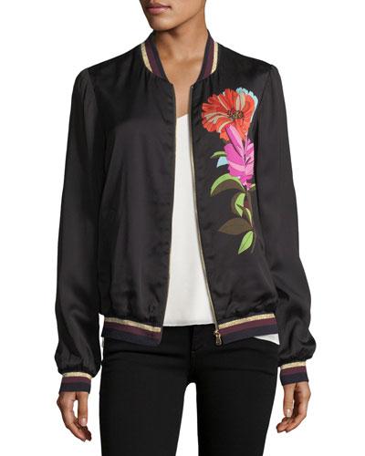 Floral-Printed Satin Bomber Jacket