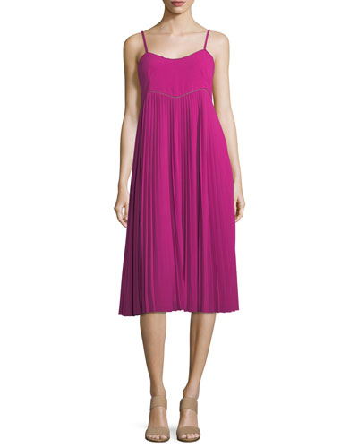 Scoop-Neck Pleated Midi Dress