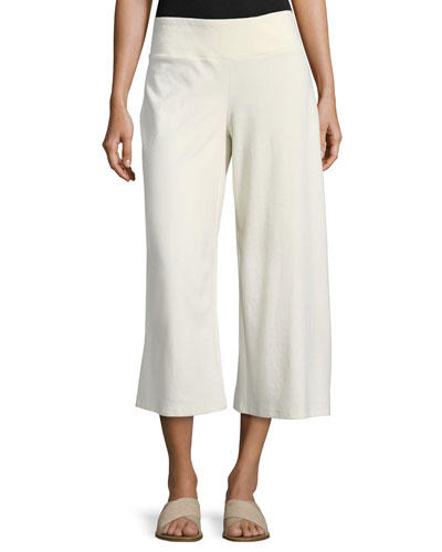 Cotton-Blend Ponte Wide-Leg Pants