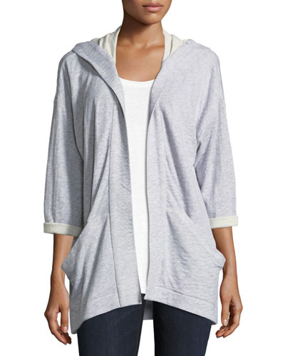 Hooded Heathered Organic Cotton Kimono Jacket, Plus Size
