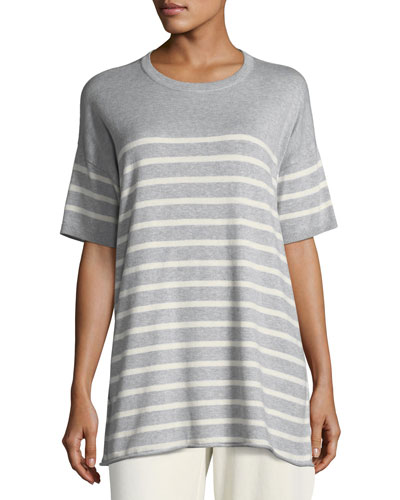 1/2-Sleeve Striped Organic Peruvian Cotton Tunic