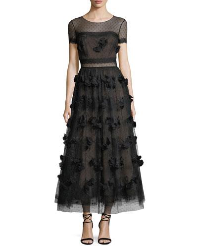 Swiss Dot Short-Sleeve Cocktail Dress