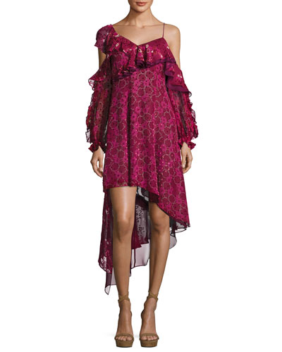 Asymmetric Burnout Print Ruffled Cocktail Dress