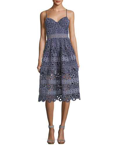 Floral-Embroidered Cutout Cocktail Midi Dress