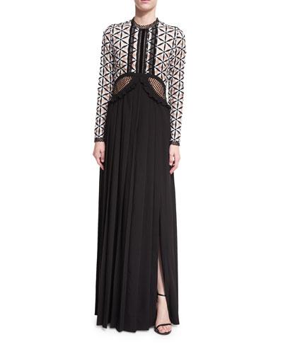 Guipure Maxi Dress W/ Waist Cutout