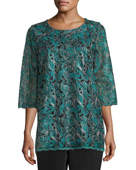 Caroline Rose Petite Lux Embroidered Tunic