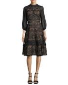 Lace Chiffon-Sleeve Cocktail Dress