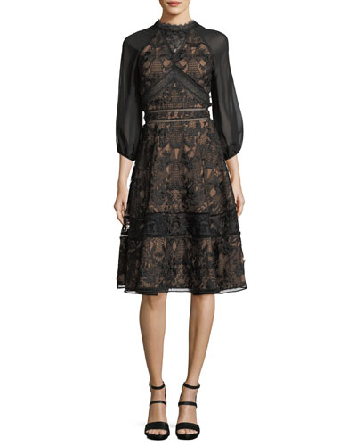 Lace Chiffon-Sleeve Cocktail Dress
