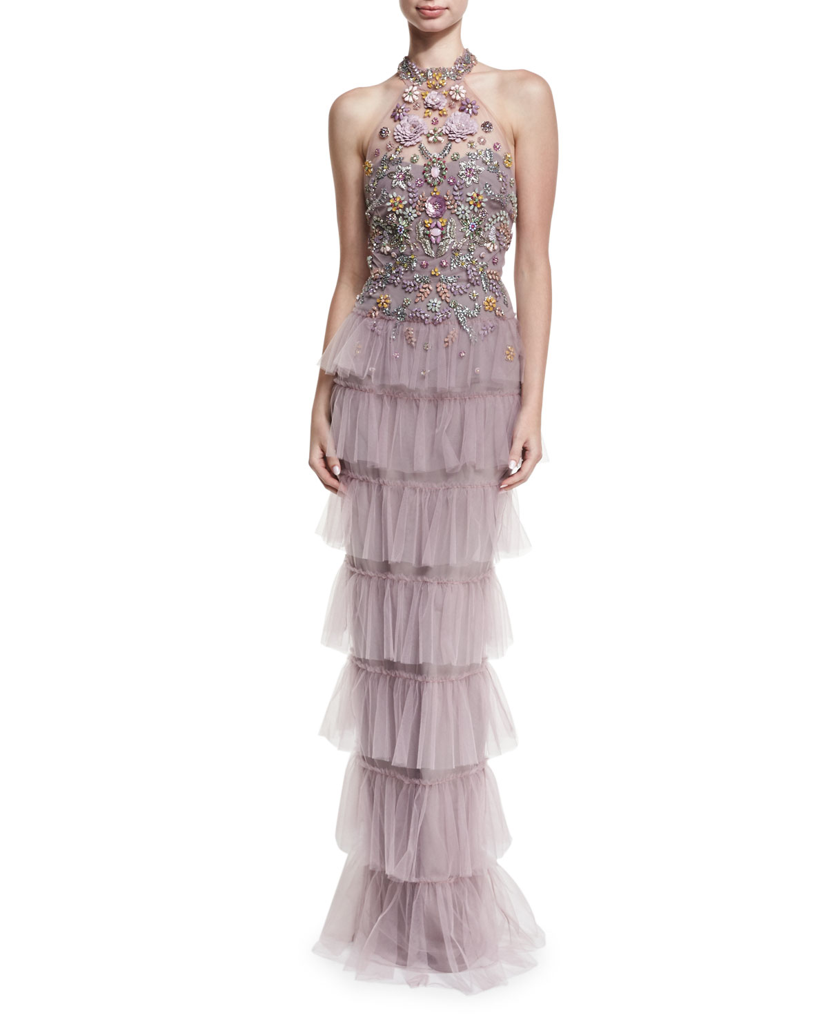 4c01d580bcc6 Marchesa Notte Jeweled Tulle Halter Gown In Lilac | ModeSens