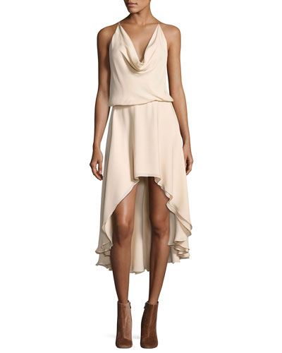 Michelle Sleeveless Cowl-Neck High-Low Dress