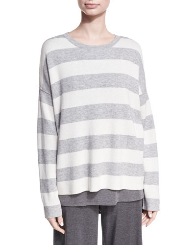 Round-Neck Long-Sleeve Striped Sweater Top, Petite
