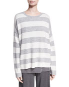 Eileen Fisher Plus Size Round-Neck Long-Sleeve Striped Sweater