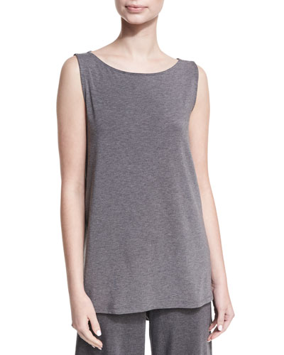 Bateau-Neck Lightweight Jersey Tank Top, Plus Size