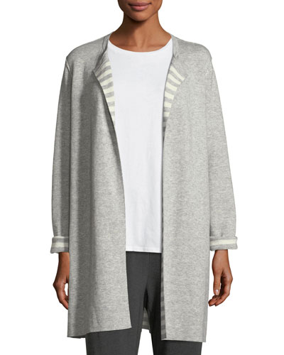 Organic Cotton Cashmere Reversible Cardigan, Plus Size