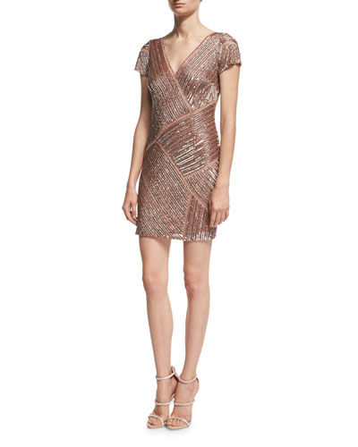 Cap-Sleeve V-Neck Beaded Cocktail Dress, Blush