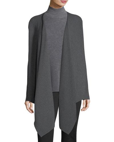 Washable Wool Wrap Cardigan, Plus Size