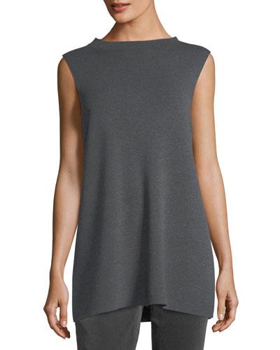 Mock-Neck Sleeveless Washable Crepe Tunic, Plus Size