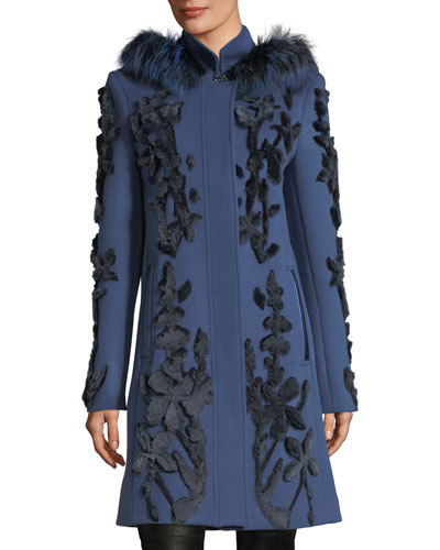 Julia Fur-Trim Appliqué Wool Coat