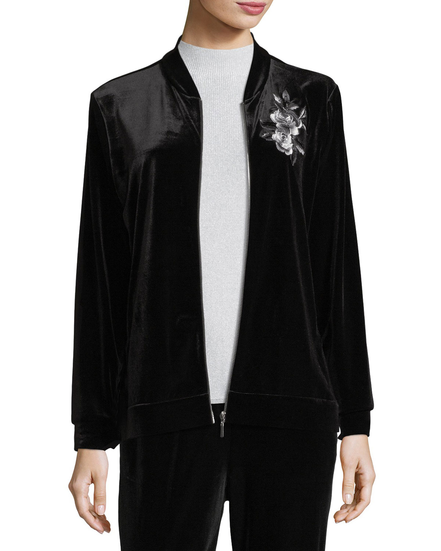 Embroidered Velvet Jacket, Petite