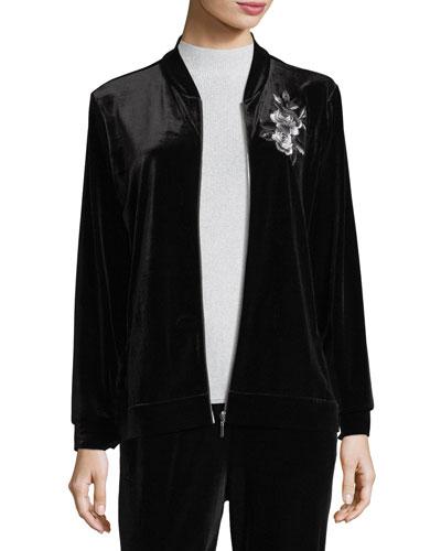 Embroidered Velvet Jacket, Plus Size