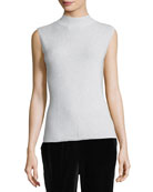 Mock-Neck Metallic Shell, Petite