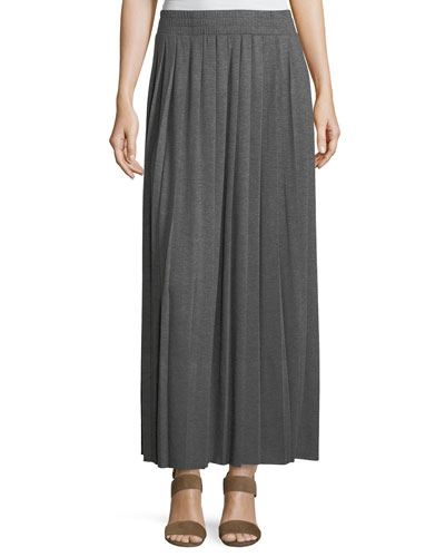 Jersey Pleated Long Skirt, Plus Size