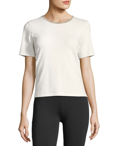 Embellished Crewneck Short-Sleeve Top, Plus Size