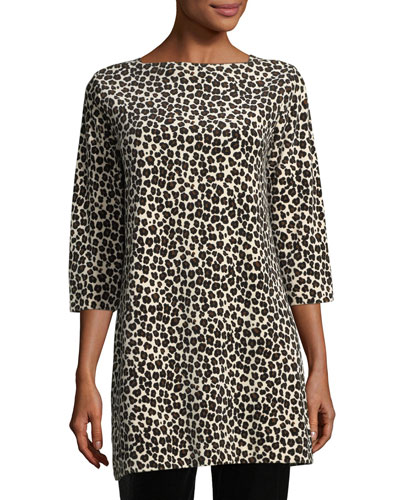 Leopard-Print Velour 3/4-Sleeve Tunic, Plus Size