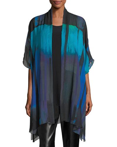 Jewel-Tone Georgette Long Tunic, Plus Size