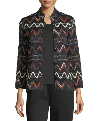 Zigzag Striped Jacket, Plus Size