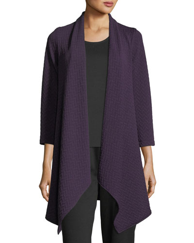 Chevron Knit Draped Jacket, Plus Size