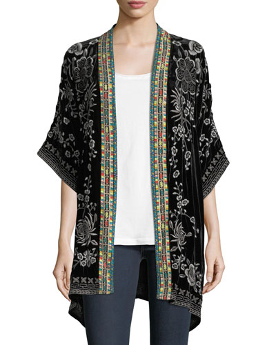 Okinawa Velvet Embroidered Kimono Jacket, Plus Size