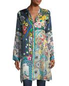 Multi-Print Silk Button-Front Cardigan Tunic, Petite