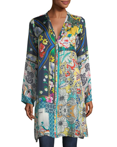 Multi-Print Silk Button-Front Cardigan Tunic, Petite