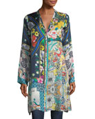 Multi-Print Silk Button-Front Cardigan Tunic