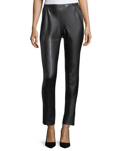 Bi-Stretch Faux-Leather Pants, Petite