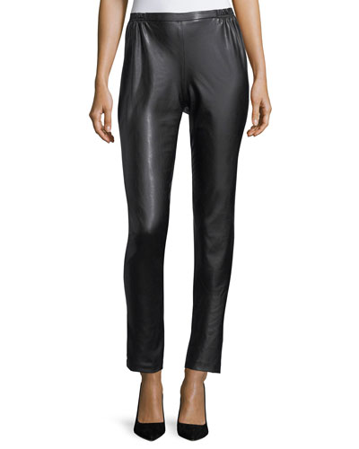 Bi-Stretch Faux-Leather Pants, Plus Size