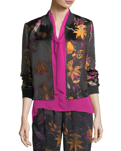 Laicey Floral-Print Silk Bomber Jacket