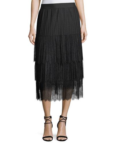Brooklyn Tiered Lace Midi Skirt