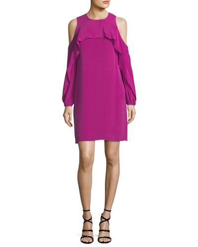 Raina Cold-Shoulder Silk Popover Dress