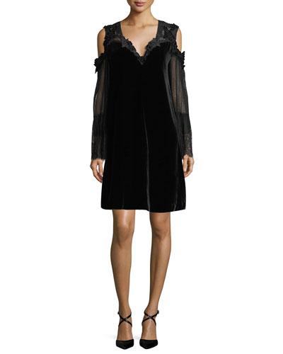 Leanne Lace-Trimmed Velvet Cold-Shoulder Dress