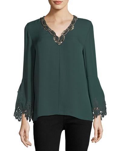 Amalia Long-Sleeve Silk Blouse