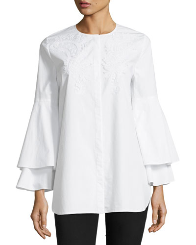 Lianna Layered Bell-Sleeve Cotton Blouse