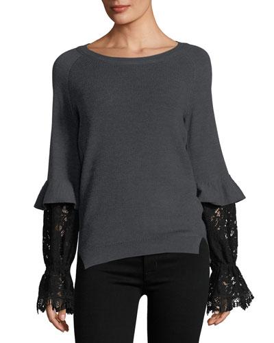 Sadie Extrafine Merino Sweater w/ Lacy Poet Sleeves