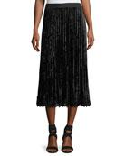 Paulette Crushed Velvet Pleated Midi Skirt