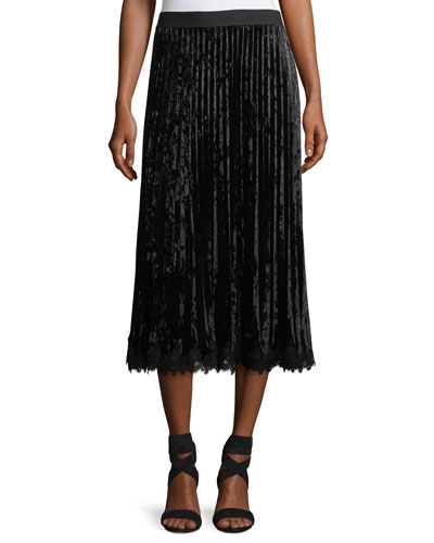 Paulette Crushed Velvet Pleated Midi Skirt