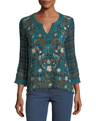 Nilo 3/4-Sleeve Jasmine Plaid Embroidered Peasant Top