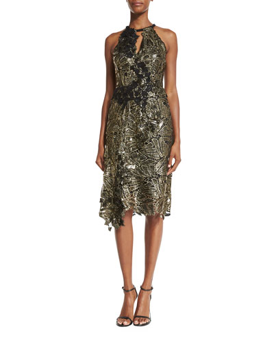 Sleeveless Floral Keyhole Cocktail Dress, Black/Gold